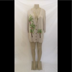 J.Jill Size Large Beige Palm Tree Cardigan